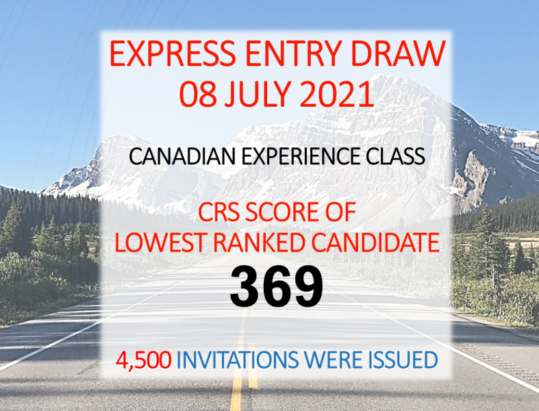 Express Entry Draw - IRCC - July 08 2021 - Canadian Experience Class - CRS 369