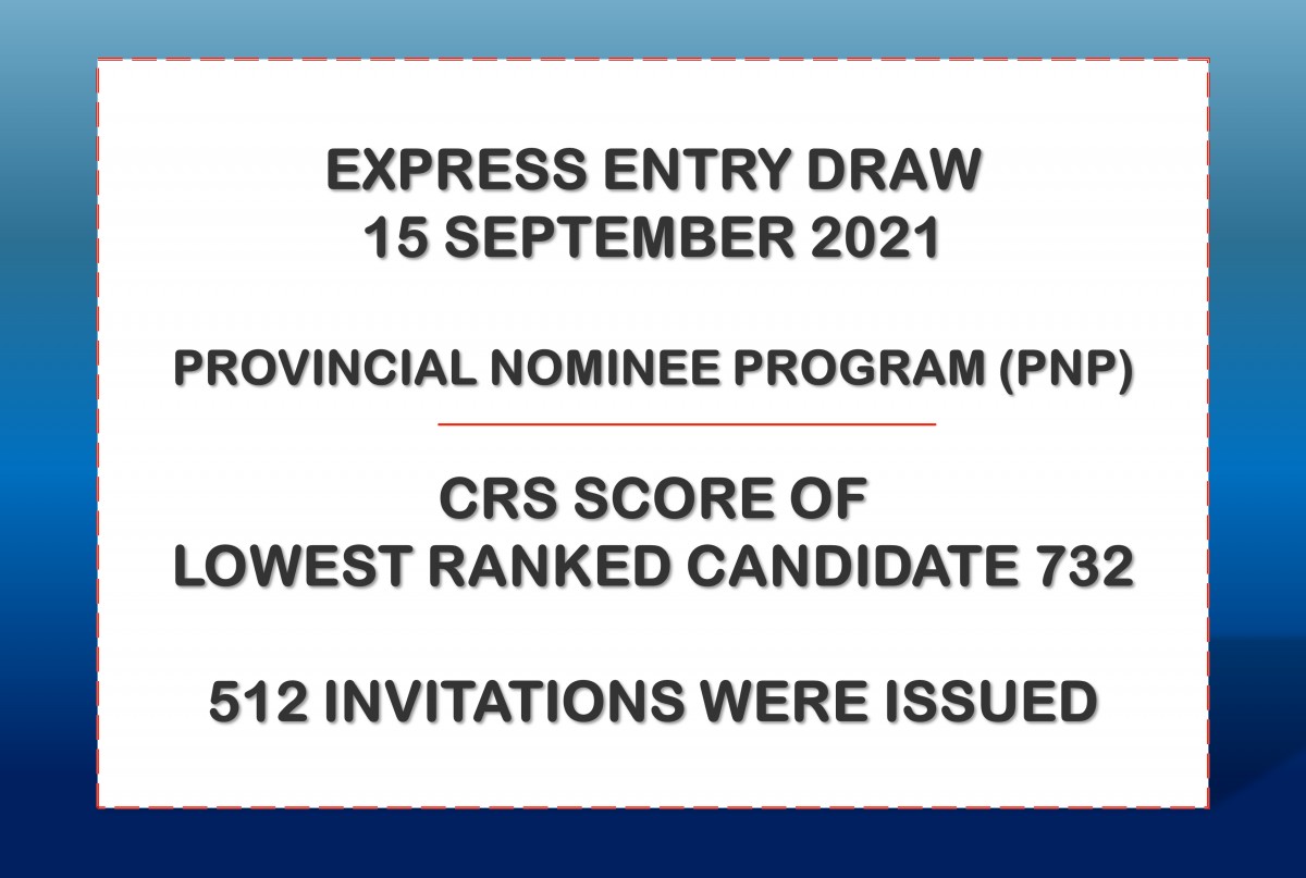 Latest Express Entry Draw, 15 September 2021 Lowest CRS was 732 - 512 ITAs were issued under Provincial Nominee Program. Get your profile assessed