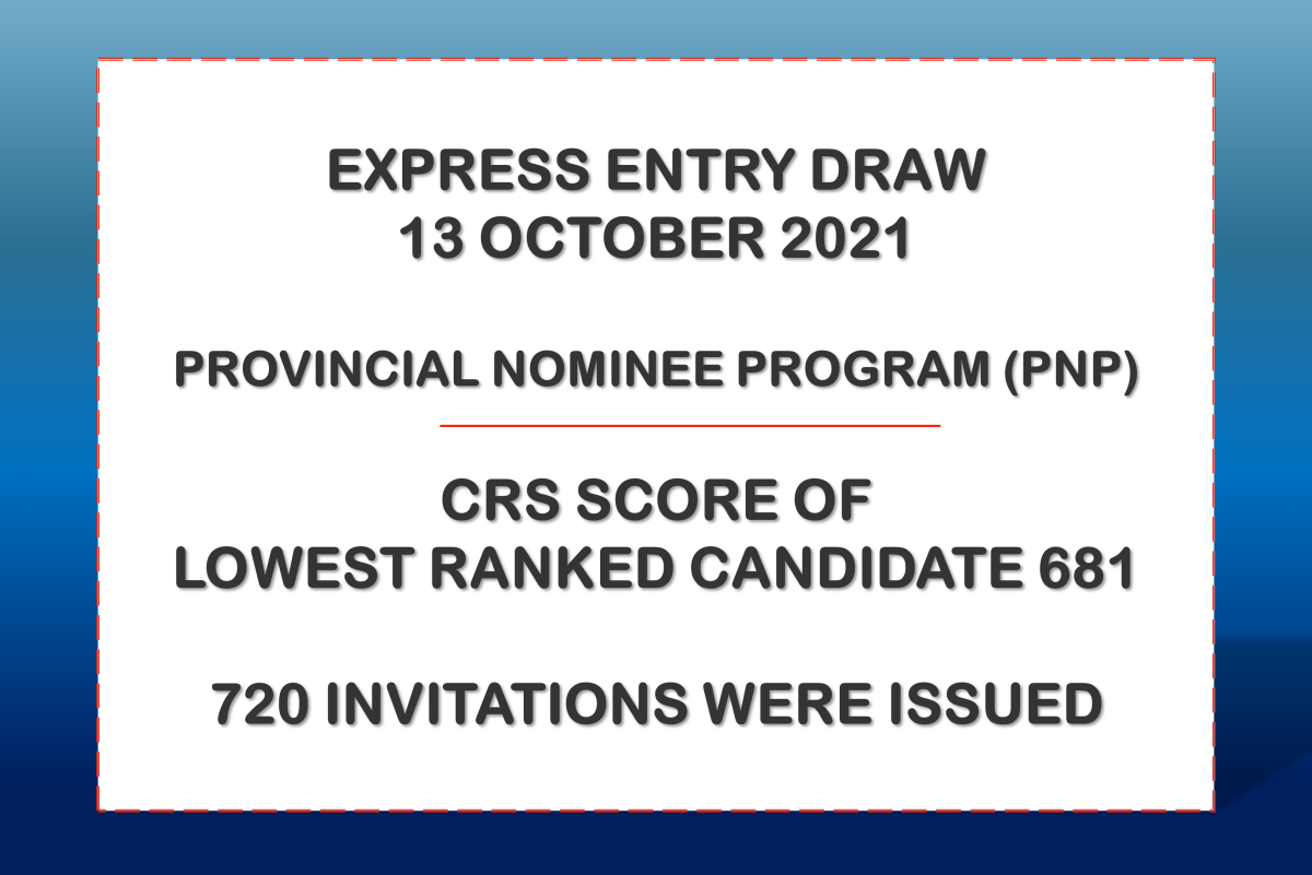 Canada Express Entry Draw – October 13, 2021 – Lowest CRS 681- Provincial Nominee Program (PNP) – 720 Invitations issued